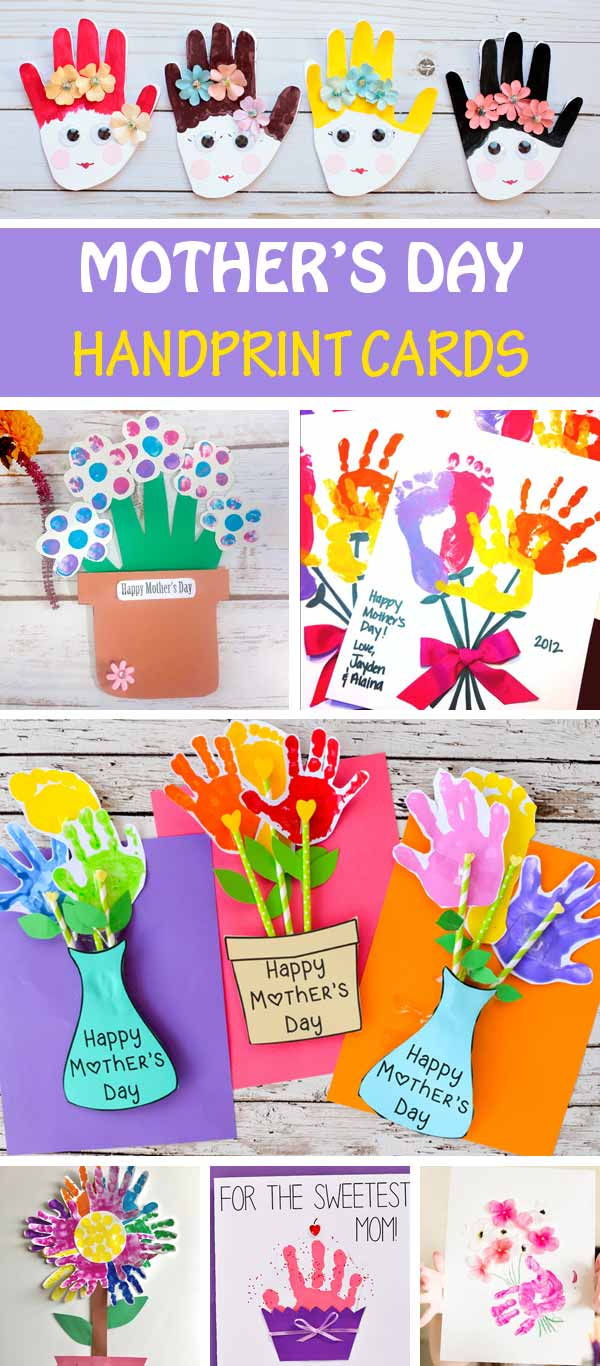Mother's Day handprint cards for kids to make for mom and gramda. Handprint flower cards, handprint cupcake card, handprint florpot cards and more #MothersDay #handprint #MothersDayCards