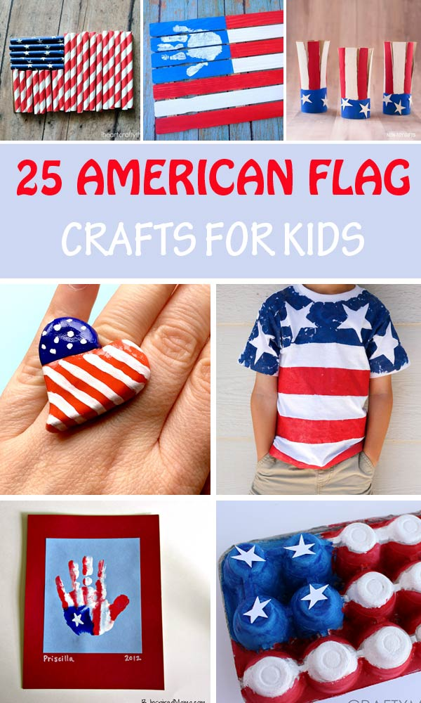 Easy American flag crafts for kids to celebrate 4th of July or Memorial Day.