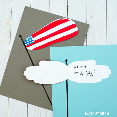 Handprint and footprint flag craft for kids