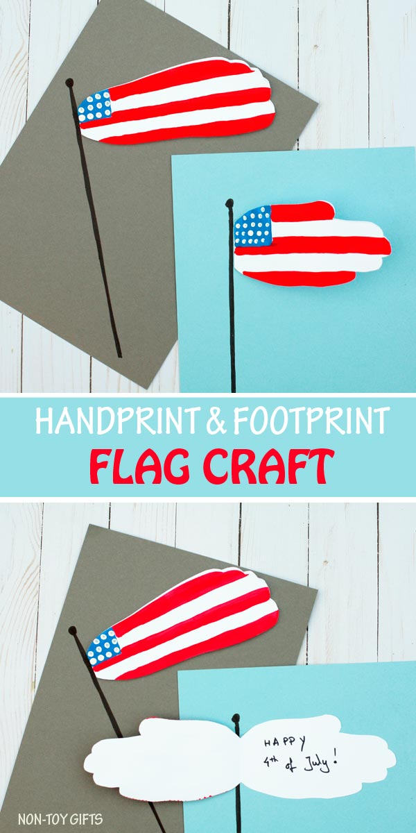 Handprint and footprint flag craft for kids to make for the 4th of July. #flagcraft #4thofJuly