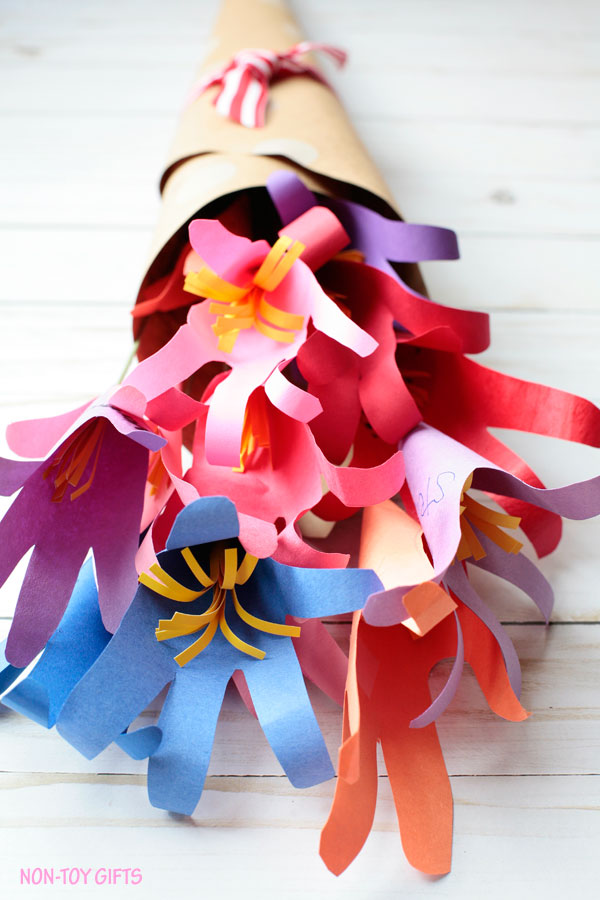 Handprint flower bouquet made by kids. Could be a perfect classroom gift for Teacher Appreciation Week,