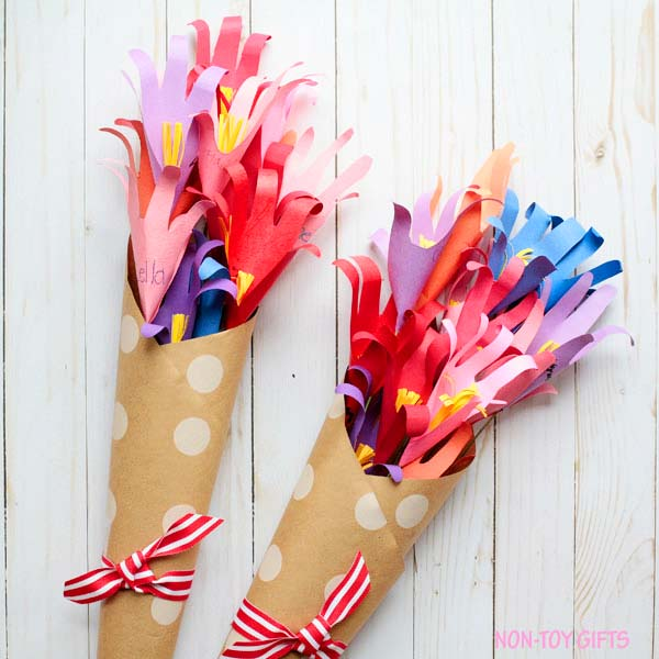 Handprint flower bouquet - kid made gift for teacher