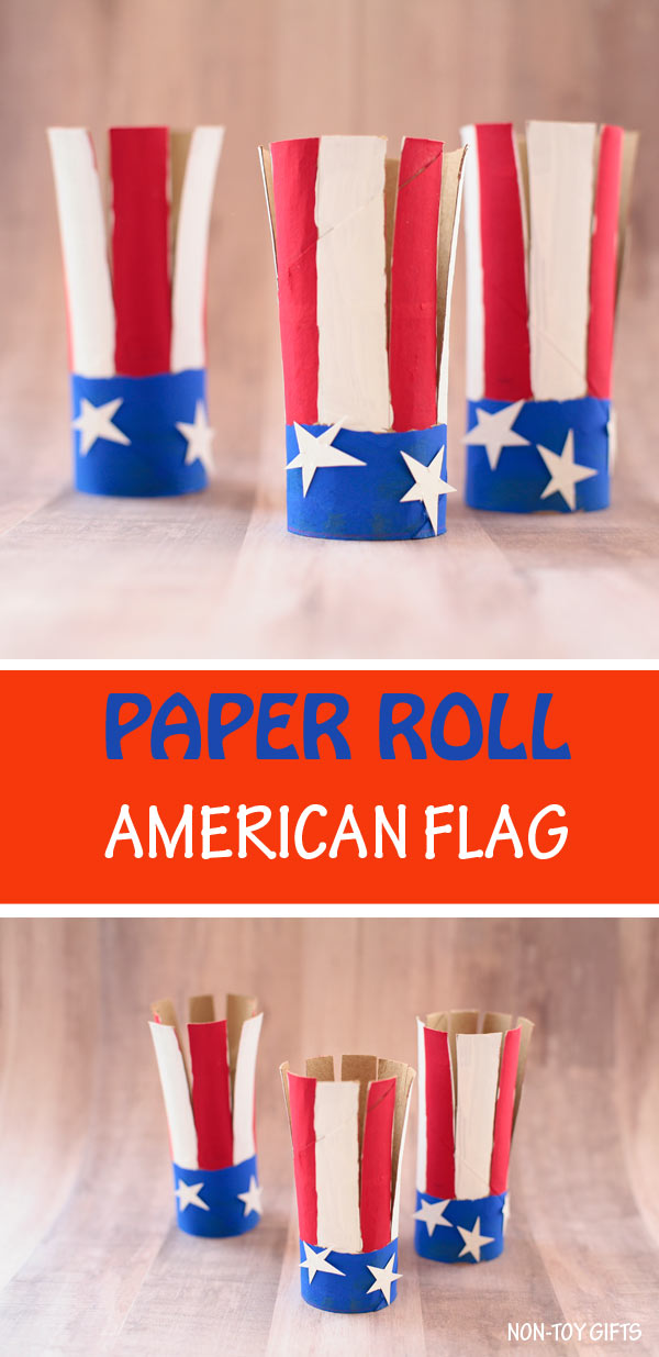 paper roll American flag craft for kids. Easy 4th of July craft for preschoolers, kindergartners and older kids.