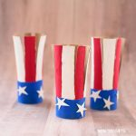 Paper roll American flag craft for kids