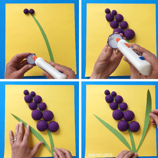 Styrofoam ball hyacinth flower craft collage