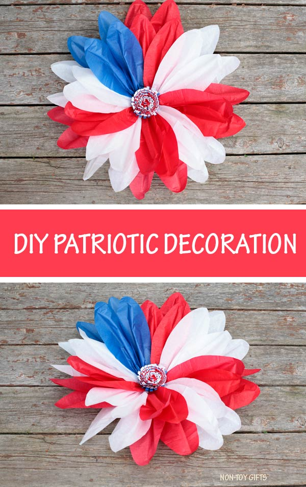 DIY patriotic decoration - tissue paper patriotic flower wreath