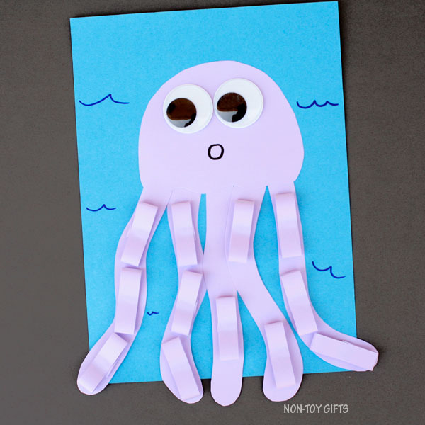 Purple paper jellyfish craft for kids