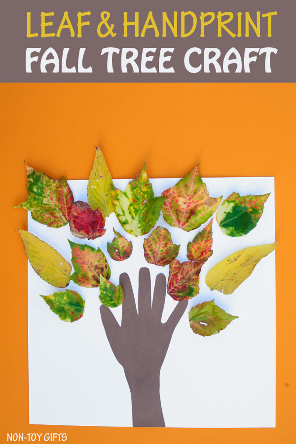 Leaf and handprint fall tree craft for kids.