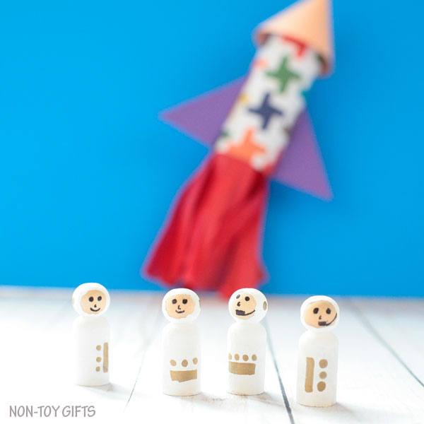 Outer space craft: paper roll rocket ship