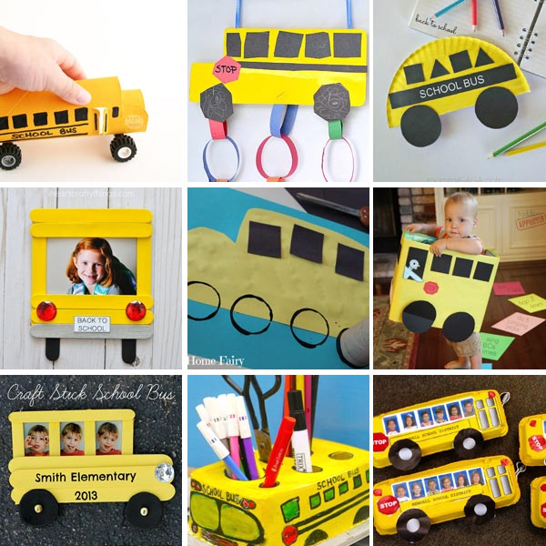 School bus crafts collage