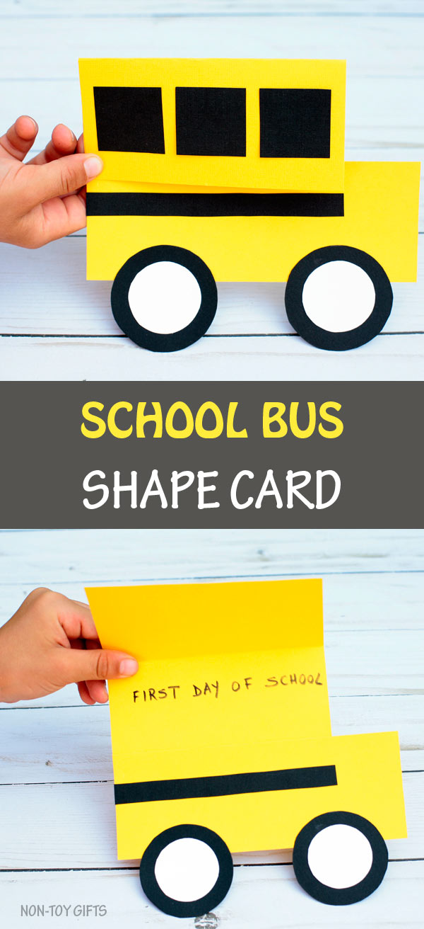 School bus shape card. An easy back to school craft for kids #backtoschool #schoolbus
