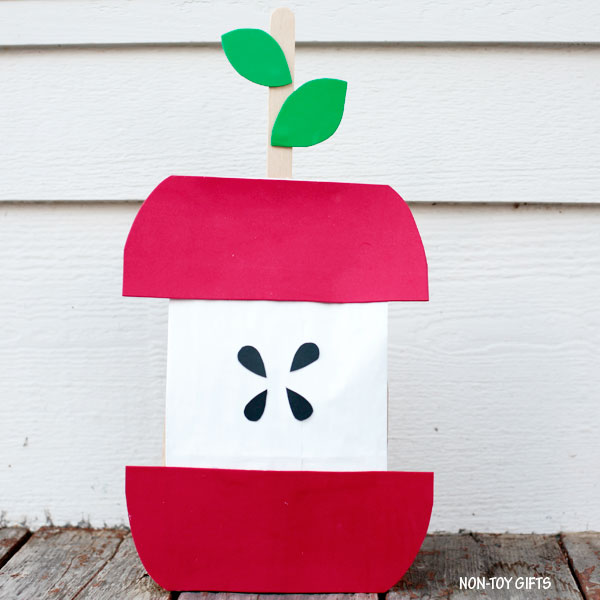 Simple paper bag apple craft for kids