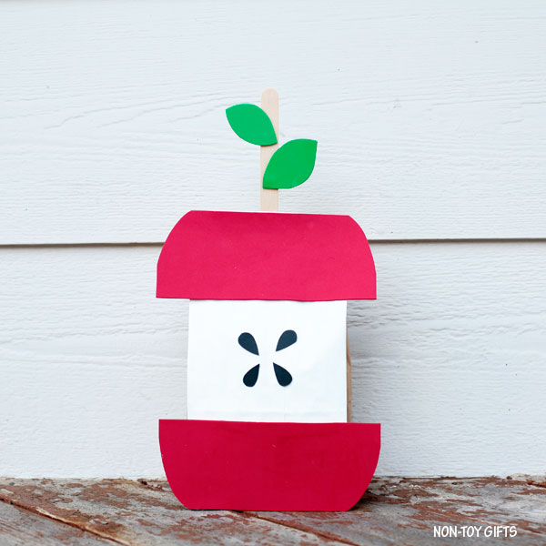 Stuffed paper bag apple craft for preschoolers