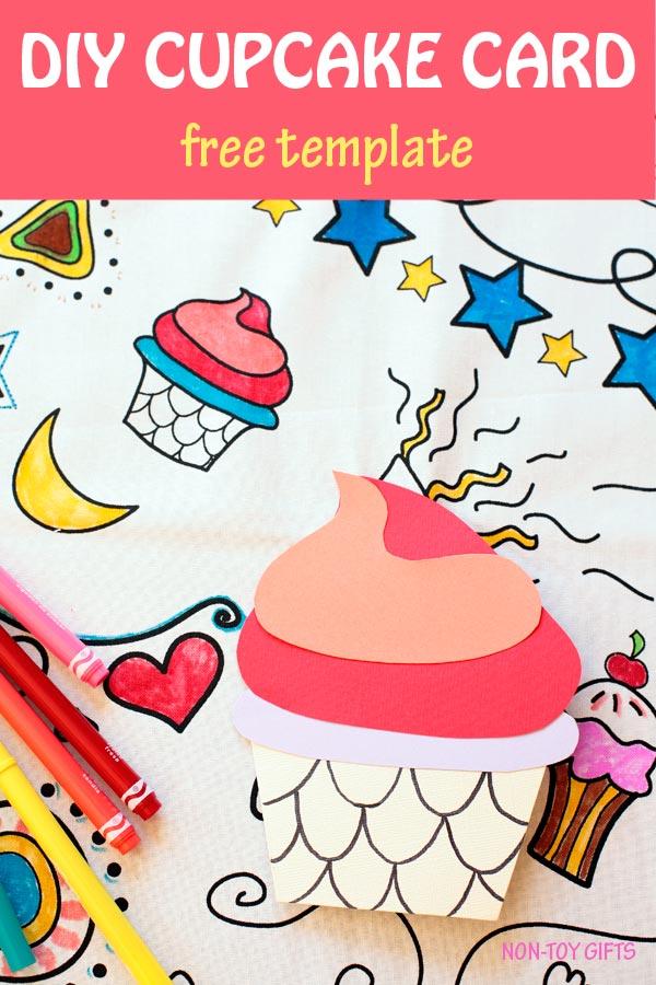 DIY birthday cupcake card for kids to make. #birthdaycard #DIYcard