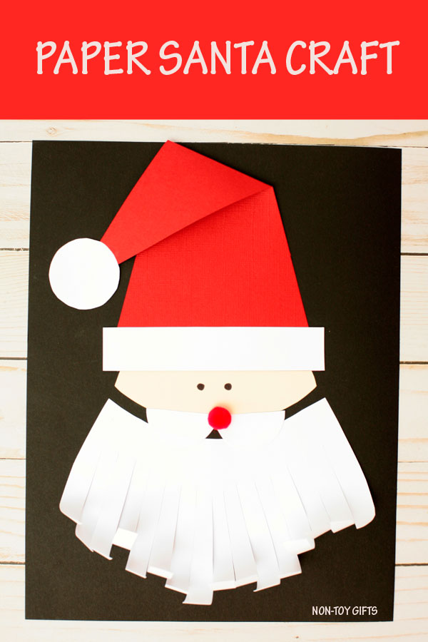 Easy Santa craft for kids. Paper Christmas craft with template for preschoolers and kindergartners. #Santa #Christmas