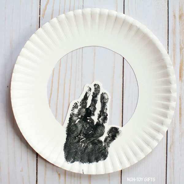 Handprint on paper plate
