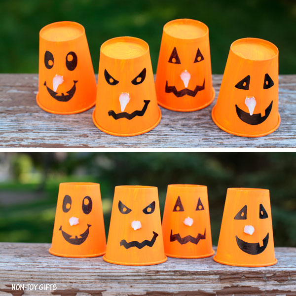 Paper Cup Jack O Lantern With Glowing Noses Halloween Craft