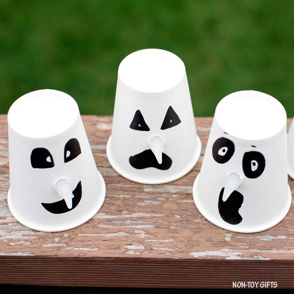 Paper cup Halloween ghost craft for kids