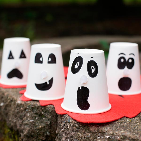 Paper cup Halloween ghost craft