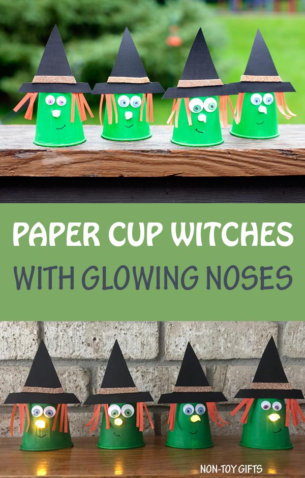 Paper cup witch craft for kids. Glowing nose made with tea light candle. #witch #Halloween