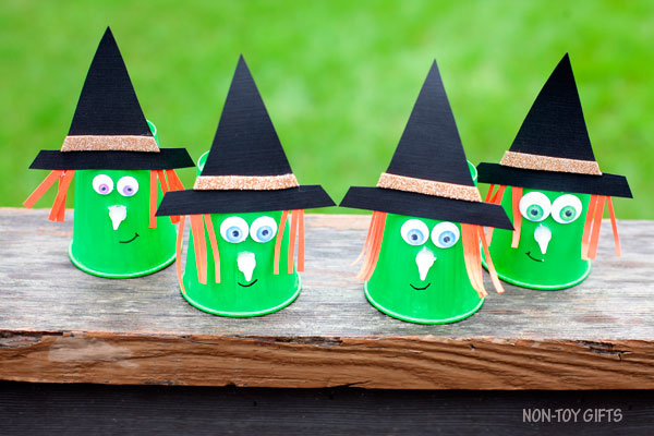 Paper cup witch craft for kids