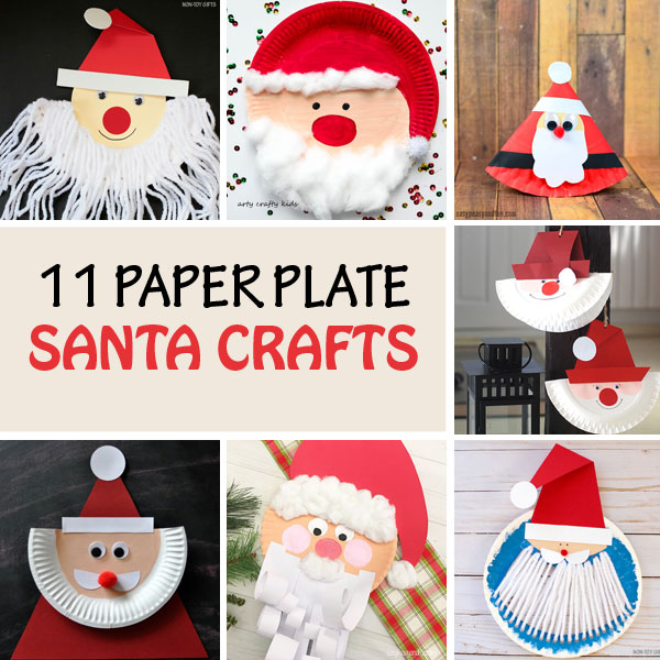 Paper plate Santa crafts for kids #Santa