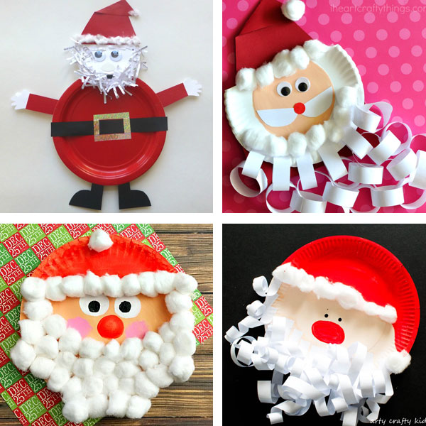 More paper plate Santa crafts for kids