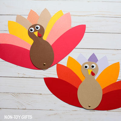 Paper turkey craft with template
