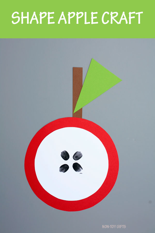 Shape apple craft for kids. Easy fall craft for preschoolers and kindergartners #apple #shape