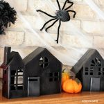 Cardboard haunted house luminaries