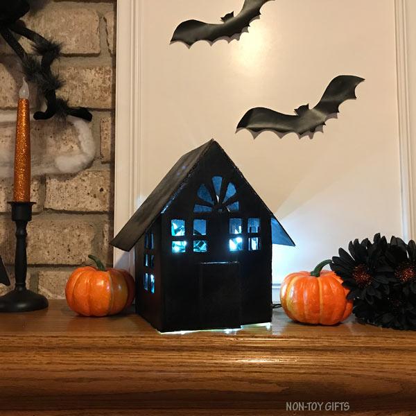 DIY cardboard haunted house luminaries at night @Amazon