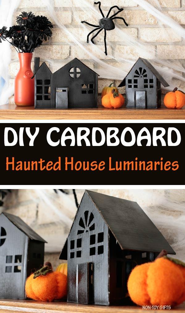 DIY cardboard haunted house luminaries to make for Halloween @Amazon
