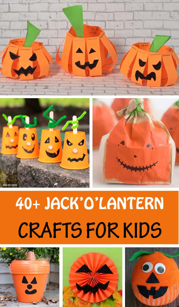 Jack'O'Lantern Crafts For Kids to make this Halloween. Use paper, paper plate, paper roll, paper bag, rocks, paper cups, mason jars and more to create fun pumpkins. #JackOLantern #Halloween