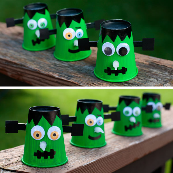 Paper cup Frankenstein - Halloween decoration