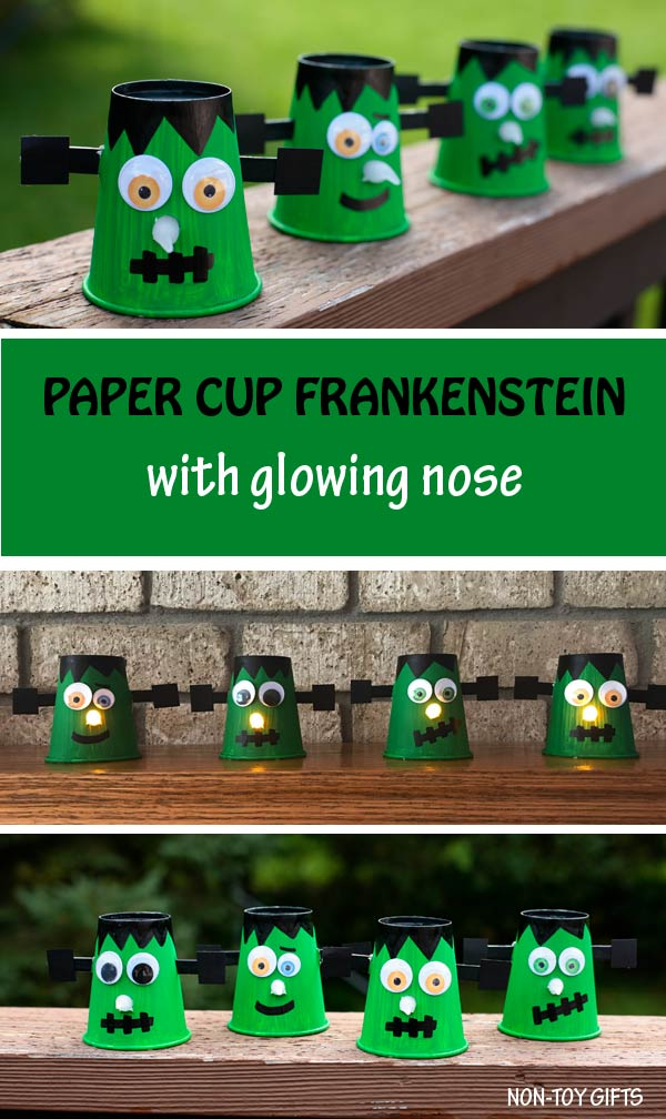Paper cup Frankenstein craft for kids to make this Halloween. Fun DIY Halloween decoration. @Non-Toy Gifts #Halloween #Frankenstein