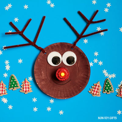 Paper plate reindeer craft with glowing nose