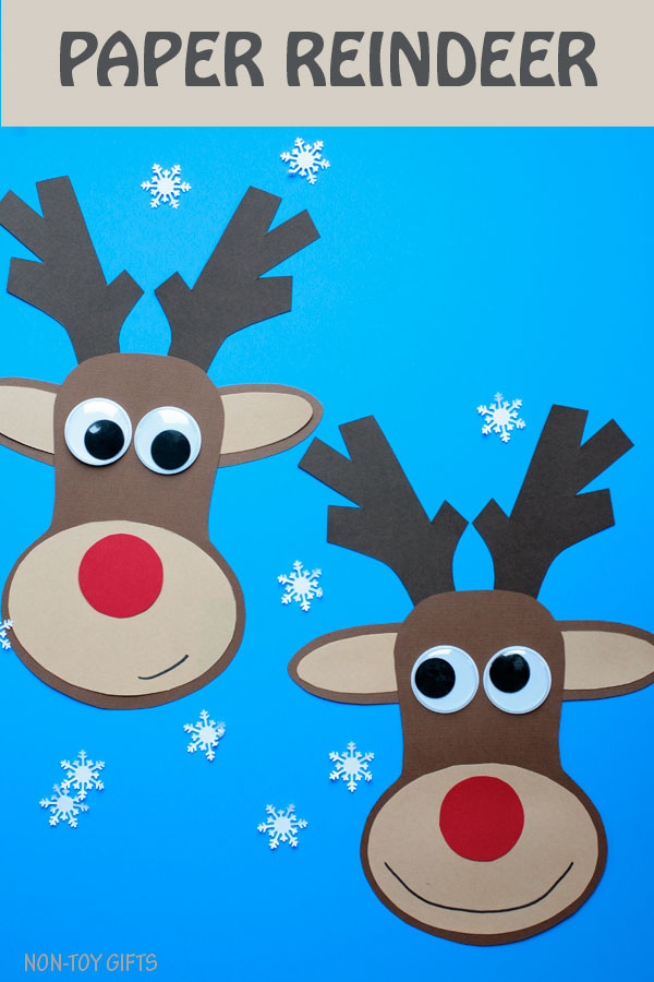 Paper reindeer craft for kids to make this Christmas. Easy Christmas craft for preschoolers, kindergartners and older kids. #ChristmasCraft #Reindeer