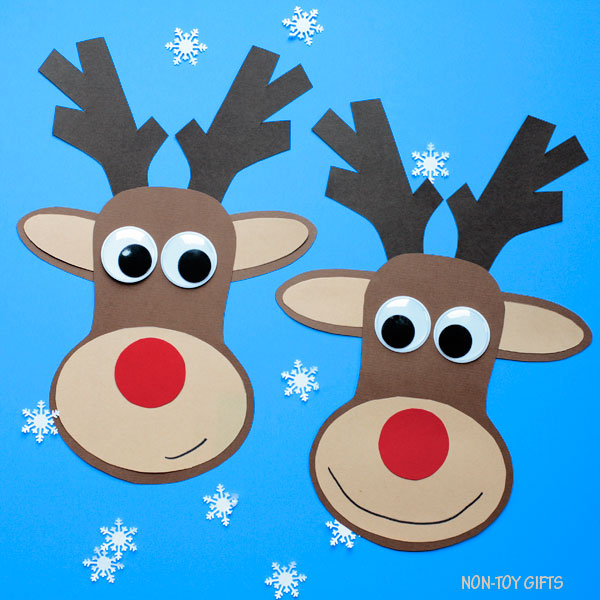 graphic regarding Pin the Nose on the Reindeer Printable identified as Paper Reindeer Craft With Printable Template - Xmas Craft