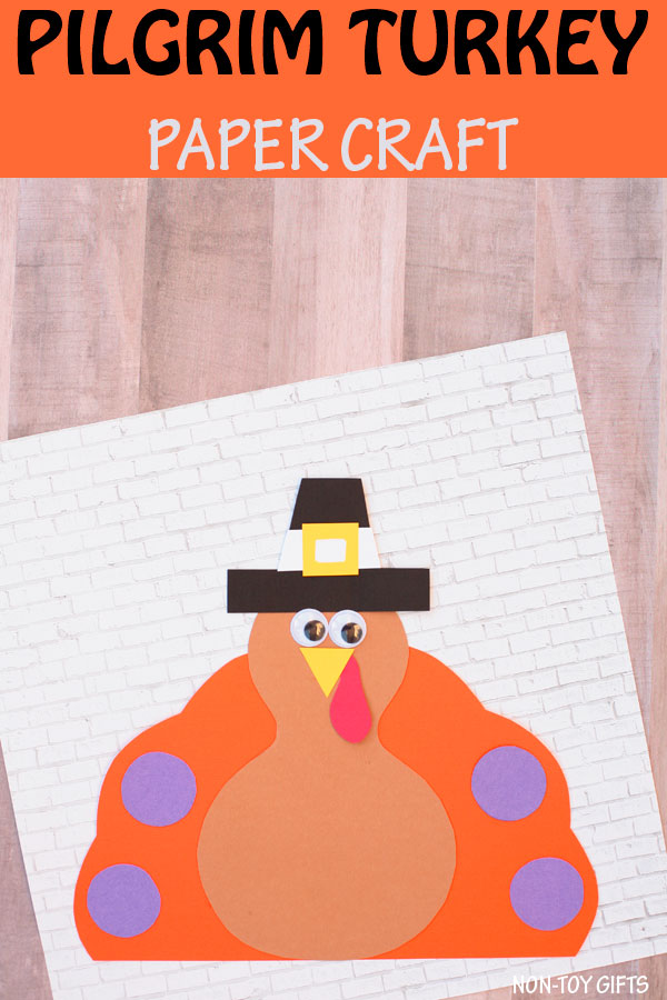 Pilgrim turkey craft for kids to make this Thanksgiving. Easy paper craft for preschoolers, kindergartners and older kids. #Thanksgiving #turkey