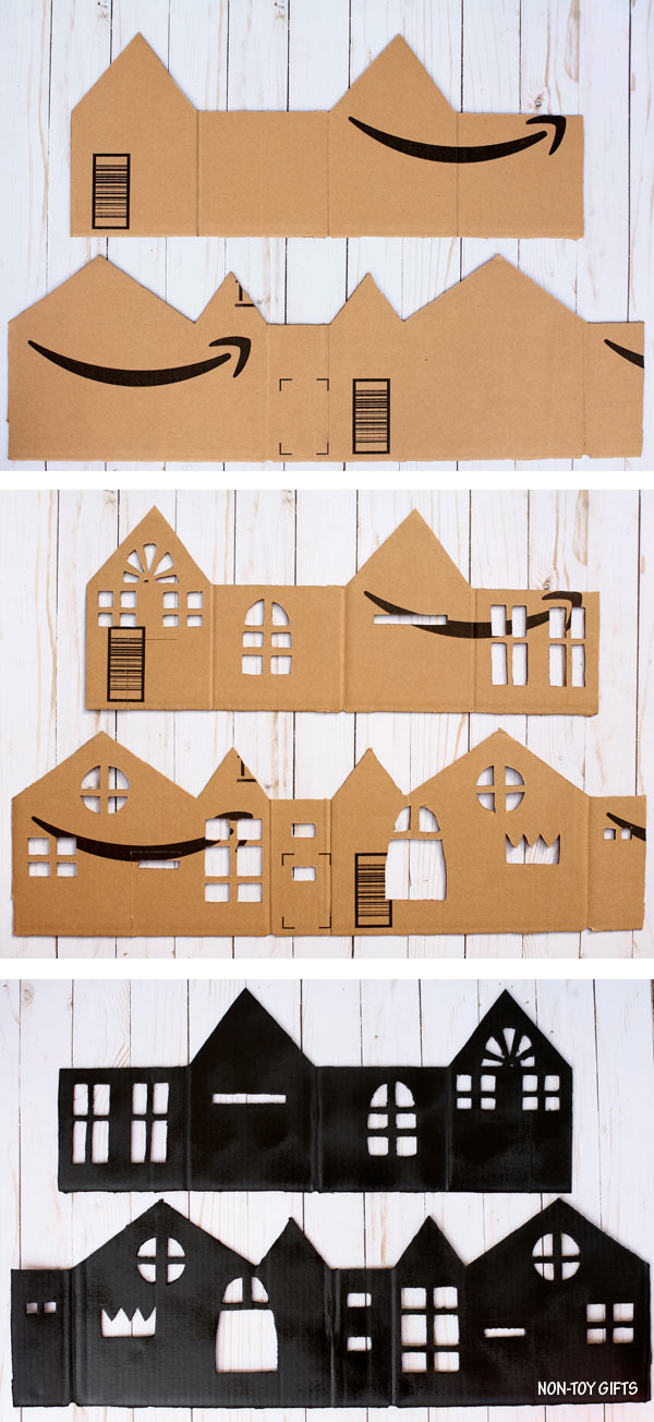 DIY cardboard haunted house luminaries process collage
