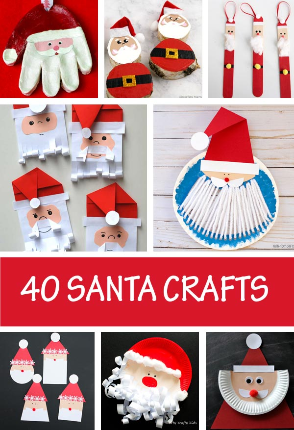 Santa crafts for kids to make this Christmas. Paper Santa, paper plate Santa, Santa decorations and easy Santa crafts for toddlers ans preschooler #Santa #ChristmasCrafts