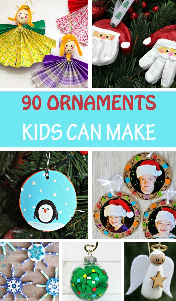 Christmas ornaments kids can make: snow globes, Christmas tree, snowman, reindeer, snowflake, pine cone ornaments, Grinch, wood slice ornaments, salt dough ornaments. Great for toddlers, preschoolers, kindergartners and older kids #Ornaments #Christmas