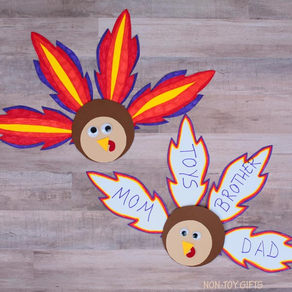 Feather turkey craft for Thanksgiving
