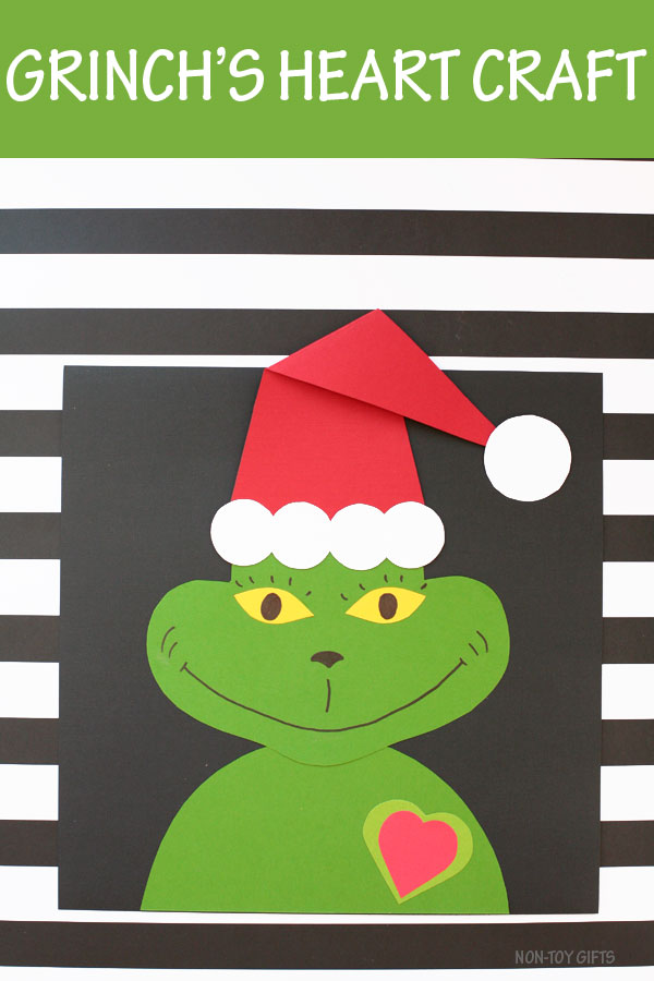 Grinch's heart Christmas craft for preschoolers, kindergartners and older kids #Grinch #Christmas