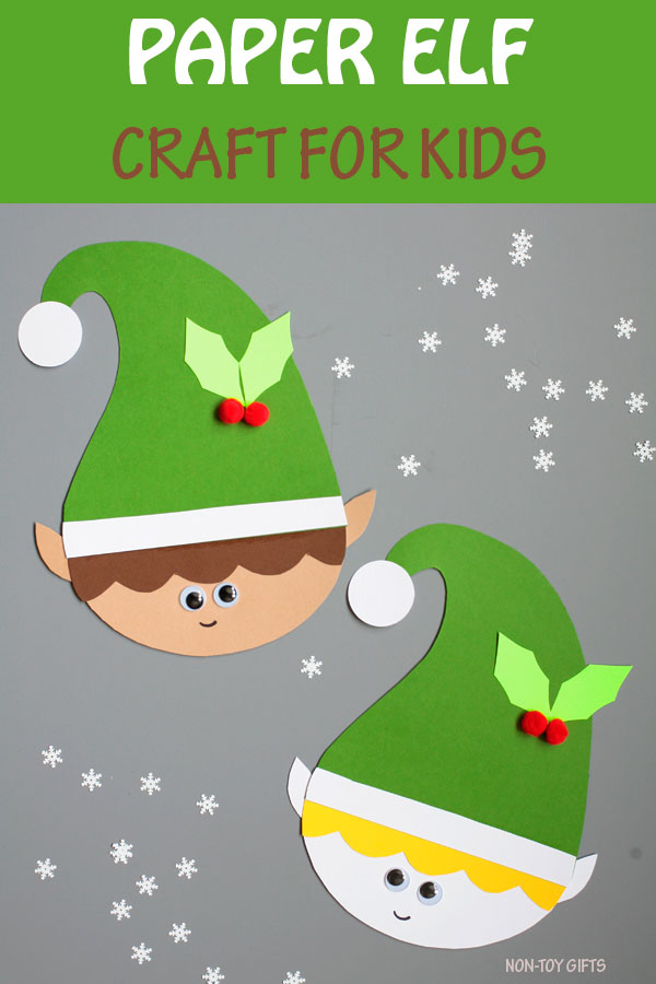 Paper elf craft for kids. Easy Christmas craft for preschoolers and kindergartners. #elf #Christmas