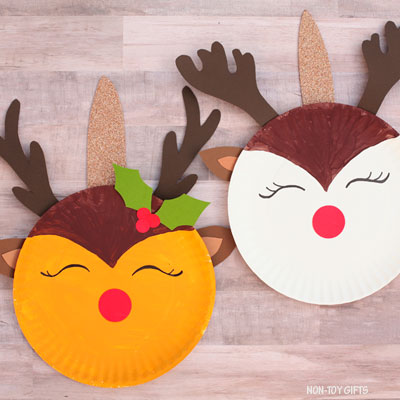 Paper plate reindeer unicorn craft for kids