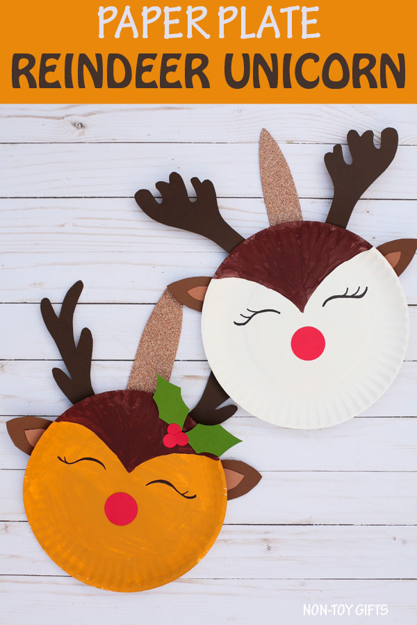 Paper plate reindeer unicorn craft for kids to make this Christmas #unicorn #reindeer #Christmascraft