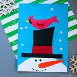 Snowman and cardinal craft for kids