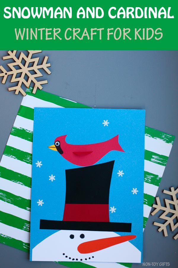 Snowman and cardinal craft for kids. Easy paper winter craft for preschoolers, kindergartners and older kids. #snowman #cardinal