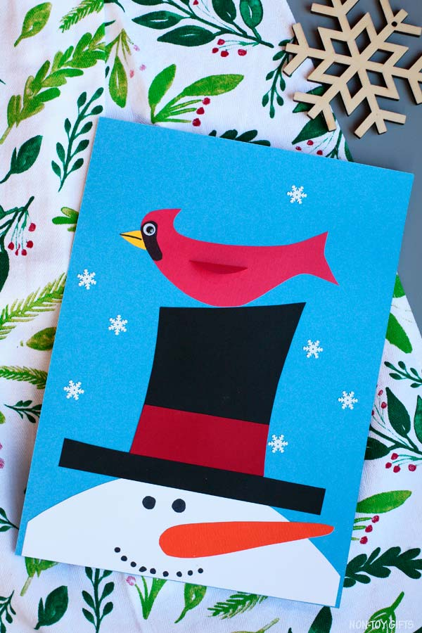 Snowman and cardinal winter craft for kids